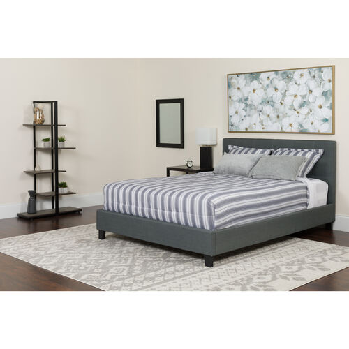 Our Tribeca Full Size Tufted Upholstered Platform Bed in Light Gray Fabric with Memory Foam Mattress is on sale now.