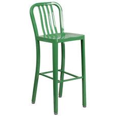 "Commercial Grade 30"" High Green Metal Indoor-Outdoor Barstool with Vertical Slat Back"