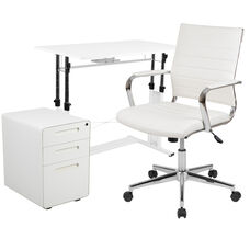 Work From Home Kit - White Adjustable Computer Desk, LeatherSoft Office Chair and Inset Handle Locking Mobile Filing Cabinet