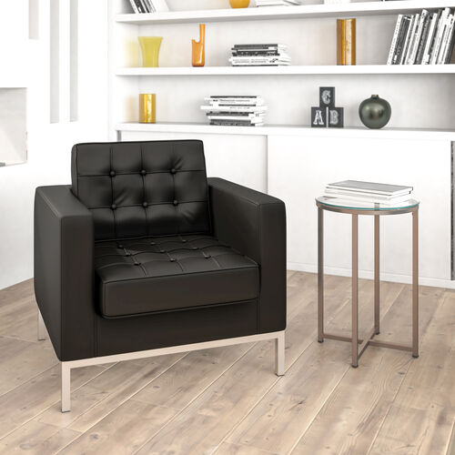HERCULES Lacey Series Contemporary Black LeatherSoft Chair with Stainless Steel Frame