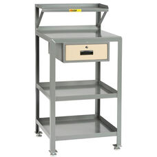 4 Shelf Steel Shop Desk with 1 Locking Drawer - 22