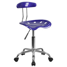 Vibrant Deep Blue and Chrome Swivel Task Office Chair with Tractor Seat