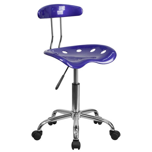 Our Vibrant Deep Blue and Chrome Swivel Task Office Chair with Tractor Seat is on sale now.