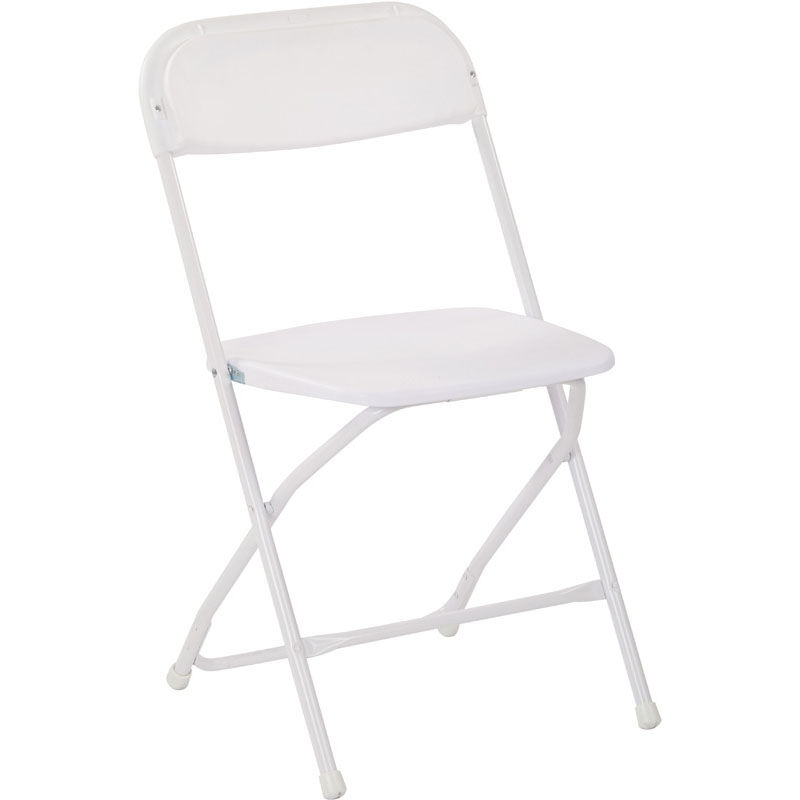 Work Smart Plastic Folding Chair   Set Of 4   White