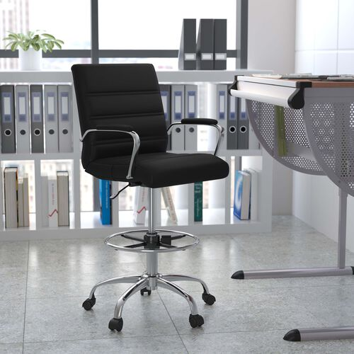 Mid-Back LeatherSoft Drafting Chair with Adjustable Foot Ring and Chrome Base