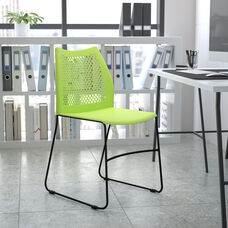 HERCULES Series 661 lb. Capacity Green Stack Chair with Air-Vent Back and Gray Powder Coated Sled Base
