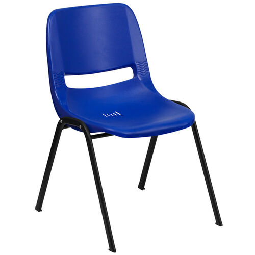 Our HERCULES Series 880 lb. Capacity Blue Ergonomic Shell Stack Chair with Black Frame is on sale now.