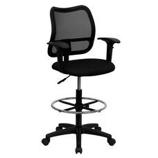 Mid-Back Black Mesh Drafting Chair with Adjustable Arms