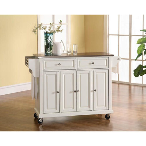 Our Stainless Steel Top Kitchen Island Cart with Cabinets - White Finish is on sale now.