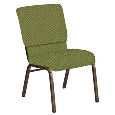 Embroidered 18.5''W Church Chair in Canterbury Olive Fabric - Gold Vein Frame