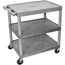 3 Shelf Structural Foam Plastic Utility Cart - Gray - 32