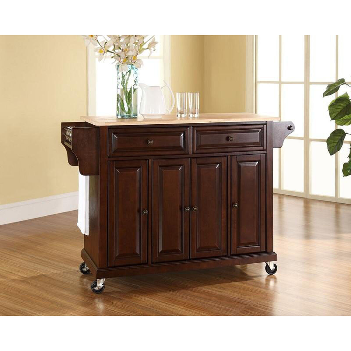 Our natural wood top kitchen island cart with cabinets vintage mahogany finish is on sale