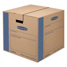 Bankers Box® SmoothMove Prime Medium Moving Boxes - 18l x 18w x 16h - Kraft/Blue - 8/Carton