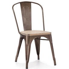 Dreux Stackable Rustic Matte Steel Side Chair with Light Elm Wood Seat - Set of 4