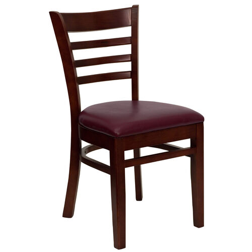 Our Mahogany Finished Ladder Back Wooden Restaurant Chair with Burgundy Vinyl Seat is on sale now.