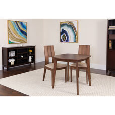 Greenwich 3 Piece Walnut Wood Dining Table Set with Curved Slat Keyhole Back Wood Dining Chairs - Padded Seats