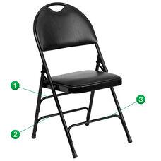 HERCULES Series Ultra-Premium Triple Braced Black Vinyl Metal Folding Chair with Easy-Carry Handle