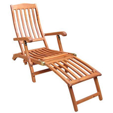 Outdoor Oil Treated Asian Hardwood Folding Steamer Chair with Brass Plated Hardware - Oak Finish