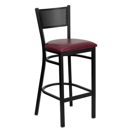 Our Black Grid Back Metal Restaurant Barstool with Burgundy Vinyl Seat is on sale now.