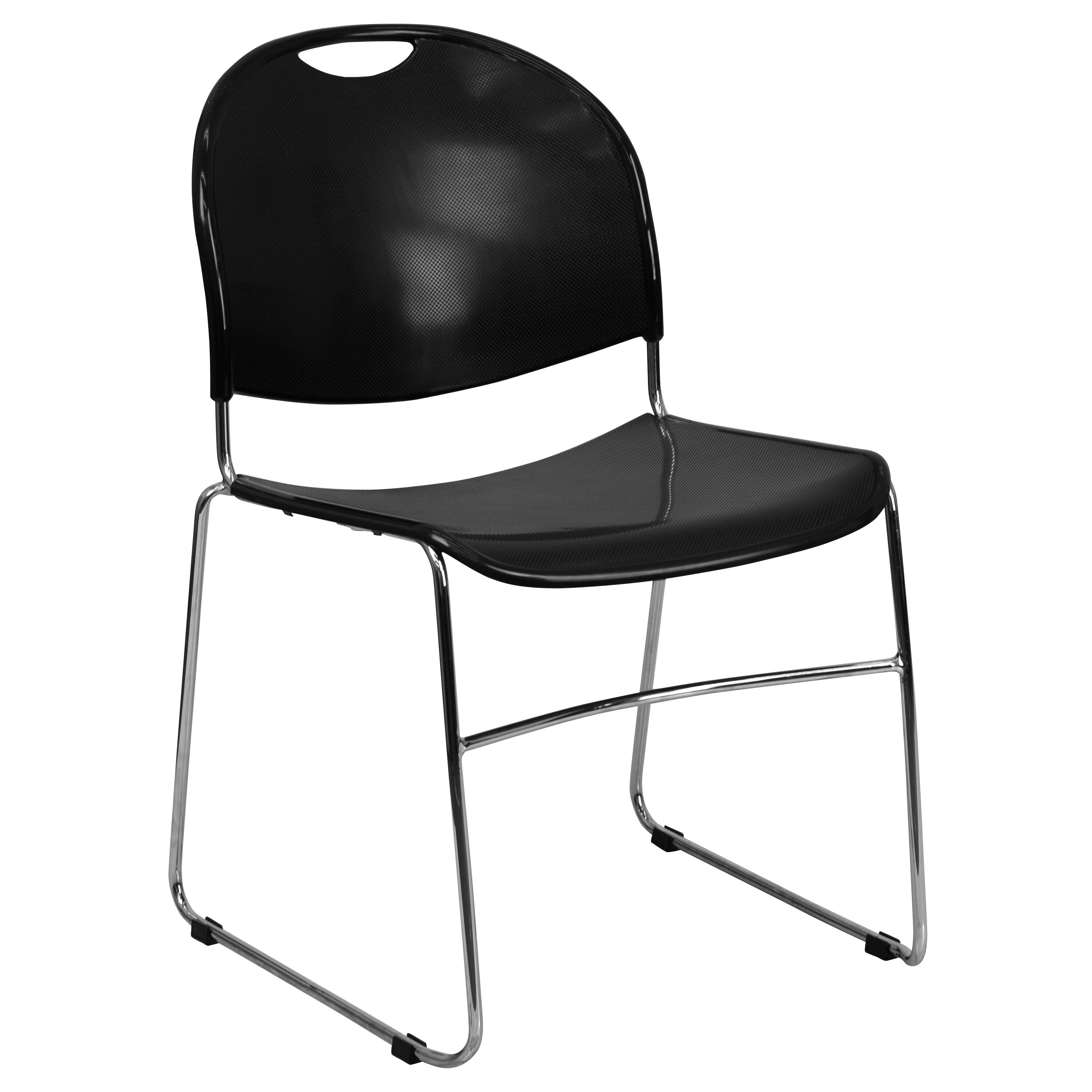 Wonderful HERCULES Series 880 Lb. Capacity Black Ultra Compact Stack Chair With  Chrome Frame