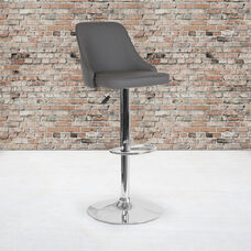Trieste Contemporary Adjustable Height Barstool in Gray LeatherSoft