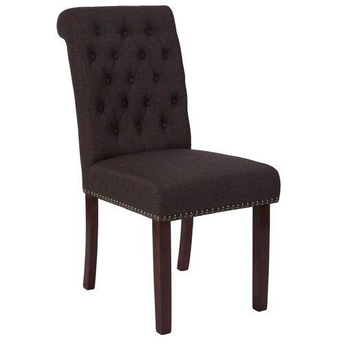 Our HERCULES Series Brown Fabric Parsons Chair with Rolled Back, Accent Nail Trim and Walnut Finish is on sale now.