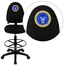 Embroidered Mid-Back Black Fabric Multifunction Ergonomic Drafting Chair with Adjustable Lumbar Support