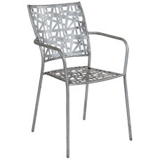 Agostina Series Antique Silver Indoor-Outdoor Steel Patio Stack Chair
