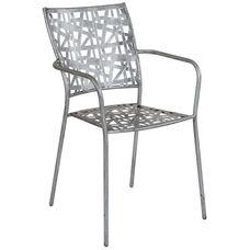 Agostina Series Antique Silver Indoor-Outdoor Steel Patio Stack Chair