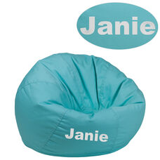Personalized Small Solid Mint Green Bean Bag Chair for Kids and Teens