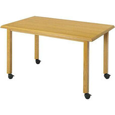 Contemporary Series Wood Conference Rectangular Table with Post Base and Casters