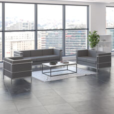 """HERCULES Regal Series Reception Set in Gray LeatherSoft with <span style=""""color:#0000CD;"""">Free </span> Tables"""