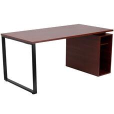 Mahogany Computer Desk with Open Storage Pedestal