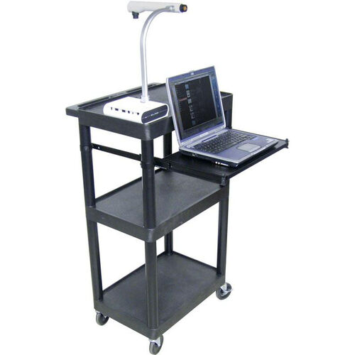 Our 3 Shelf Heavy Duty A/V Utility Cart with Pullout Keyboard Tray and 3 Outlet Surge - Black - 24