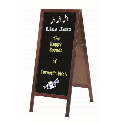 A-Frame Sidewalk Black Composition Chalkboard with Cherry Stained Solid Red Oak Frame - 42