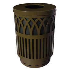 40 Gallon Covington Galvannealed Steel Flat-Top Can with Plastic Liner - Brown