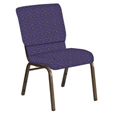Embroidered 18.5''W Church Chair in Abbey Jazz Fabric - Gold Vein Frame