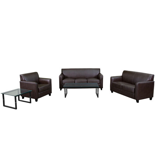 """Our HERCULES Diplomat Series Reception Set in Brown LeatherSoft with <span style=""""color:#0000CD;"""">Free </span> Tables is on sale now."""