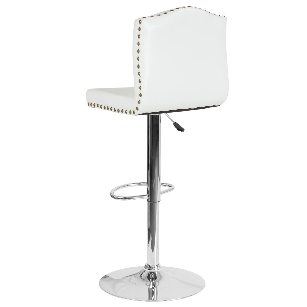 Our bellagio contemporary adjustable height barstool with accent nail trim in white leather is on sale