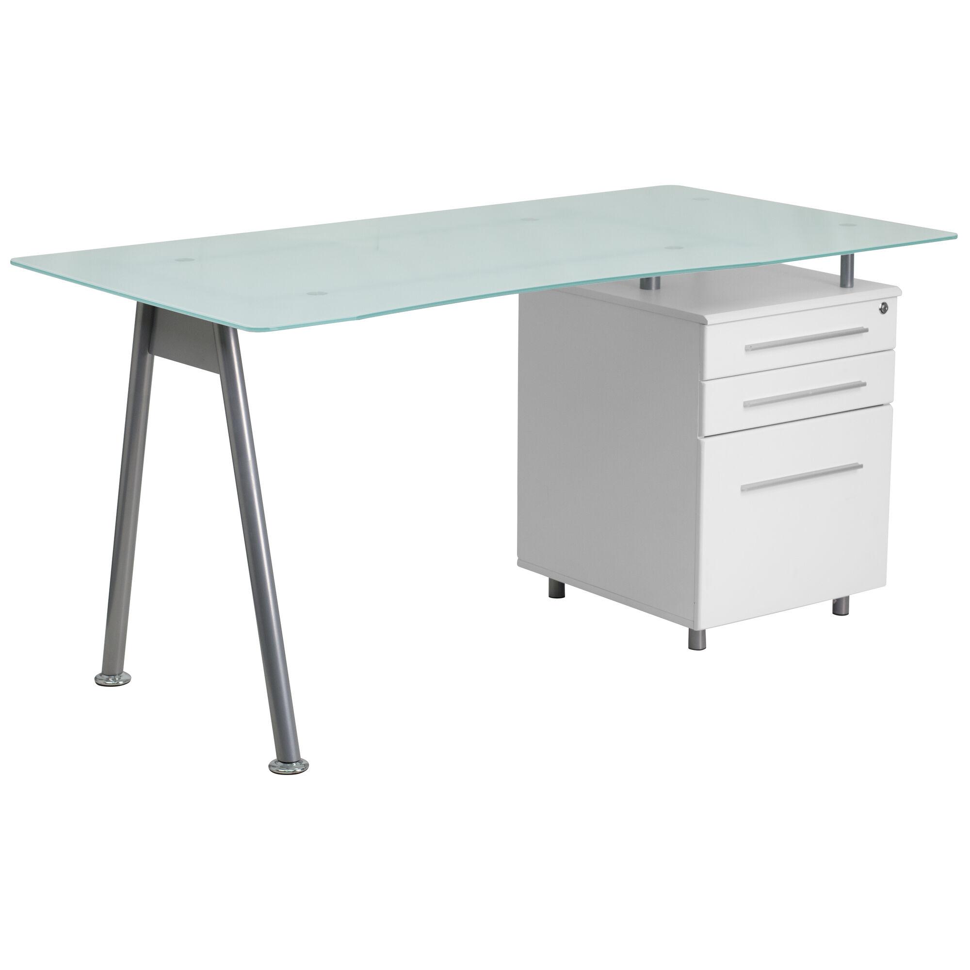 Frosted Glass Top Drawer Desk Nan Wk 021 Gg Bizchair Com