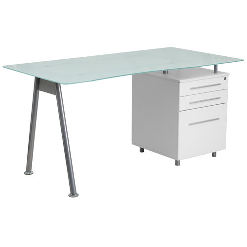 Our White Computer Desk with Glass Top and Three Drawer Pedestal is on sale now.