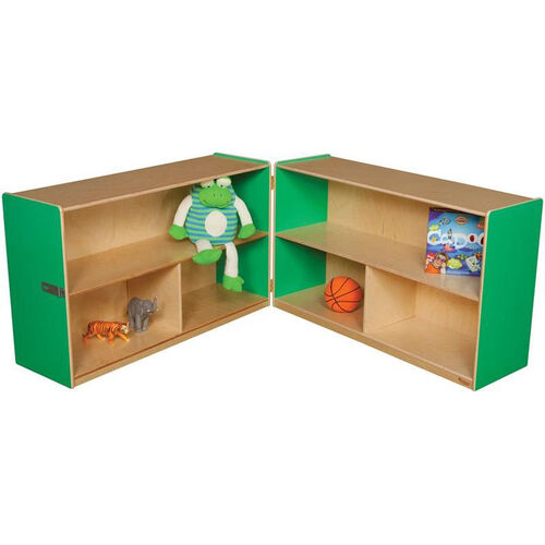 Our Wooden 6 Compartment Double Folding Mobile Storage Unit - Green Apple - 96