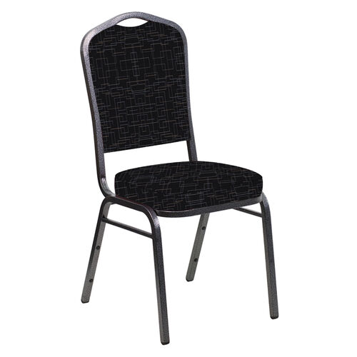 Our Crown Back Banquet Chair in Amaze Ebony Fabric - Silver Vein Frame is on sale now.