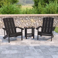 2 Pack Charlestown All-Weather Poly Resin Wood Adirondack Chair with Side Table