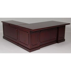 36 x 72 Wood Veneer Desk With Right Return in Mahogany Finish