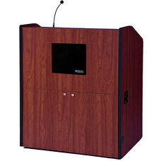 Multimedia Wired 150 Watt Sound Smart Podium - Mahogany Finish - 48.5