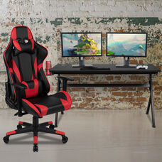 BlackArc Black Gaming Desk and Red/Black Reclining Gaming Chair Set with Cup Holder, Headphone Hook & Removable Mouse Pad Top - Wire Management