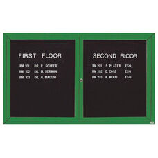 2 Door Indoor Enclosed Directory Board with Green Anodized Aluminum Frame - 36