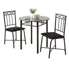 Metal 3 Piece Bistro Set with Faux Marble Top - Charcoal