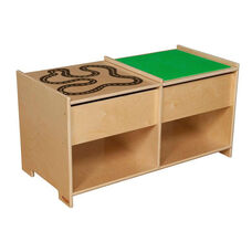 Build-n-Play Table with Reversible Racetrack Pattern Panel and Two Additional Lower Shelves - Assembled - 36.5